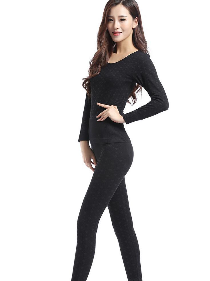 2015 женщин новый термобелье чистого хлопка гриб шаблон зима база лучших и брюки пижамы комплект