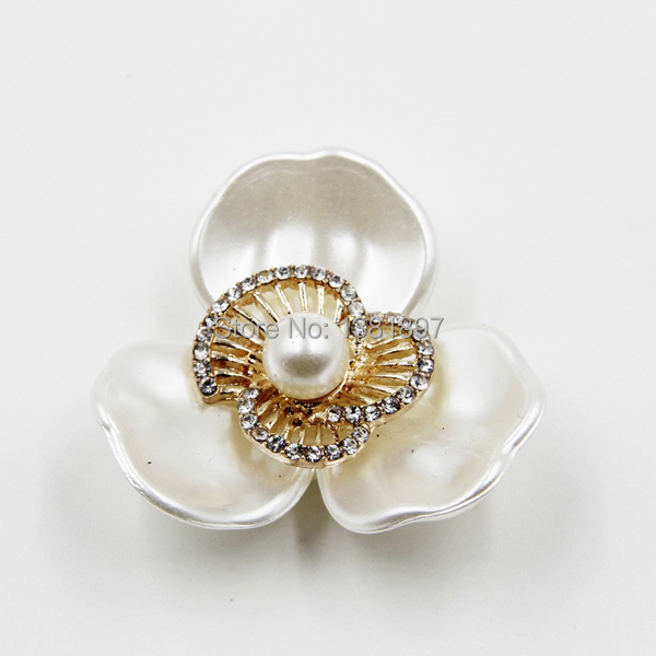 2pcs 37mm 2015 New acrylic pearl rhinestone flower brooch accessories fit brooch shoes hair Free Shipping P02845
