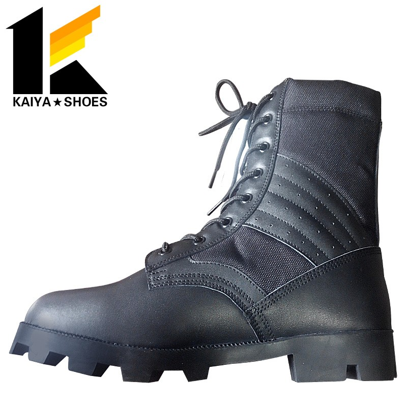 abrasion resistant PU sole lightweight police patrol leather military boots