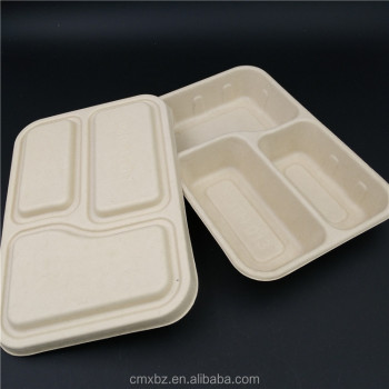 3 compartment disposable biodegradable paper bento box