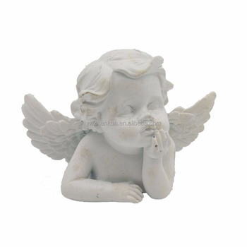 White Resin Angel Boy Figurines Life Size Baby Statue
