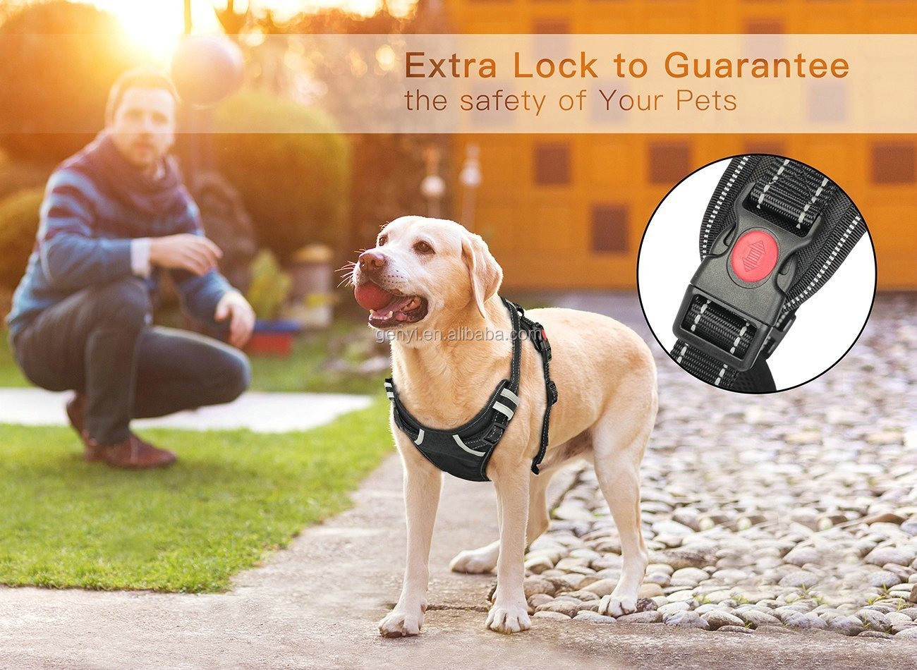 High Quality  Large Harness Black Dog Easy Control xxl And Easy Walk Pattern Vest Nylon Lift High Quality Dog Harness Leash