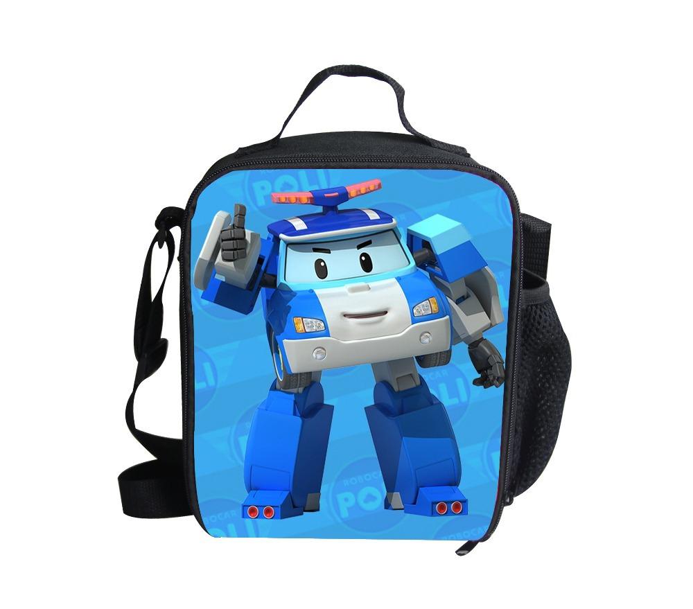 db8589b9f50e Get Quotations · Robocar Poli Printing Lunch Bags For Kids Boys Girls  Kindergarten Children Picnic Lancheira Bolsa Termica Cute