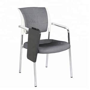 Modern plastic fabric school armrest student study chair with writing pad