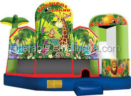 5 in 1 inflatable combo tropical island animal bouncer with slide
