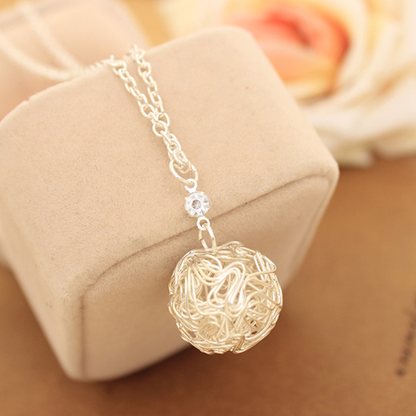 Fashion Elegant Silver Plated Chain Hollow Out Ball Necklace Pendants For Women Jewelry <strong>Accessories</strong>