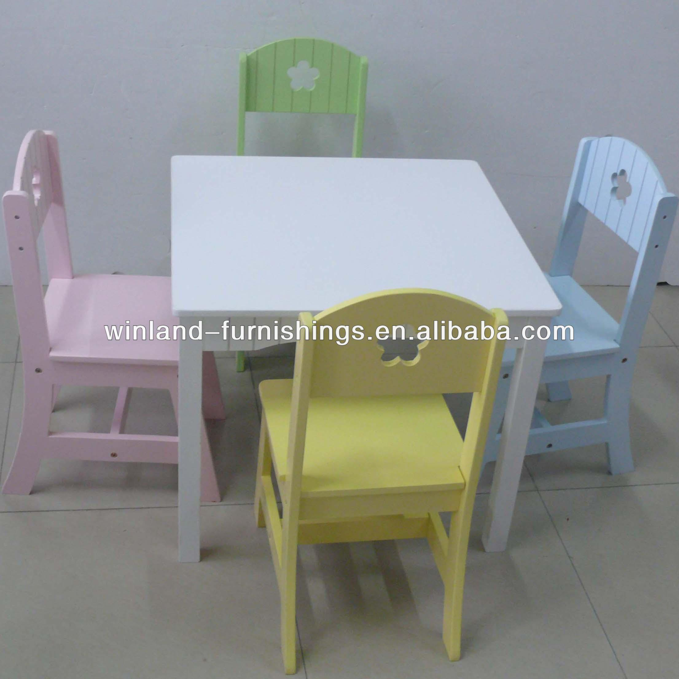 Kids Wooden Pastel Color Classic Table And Chairs Set
