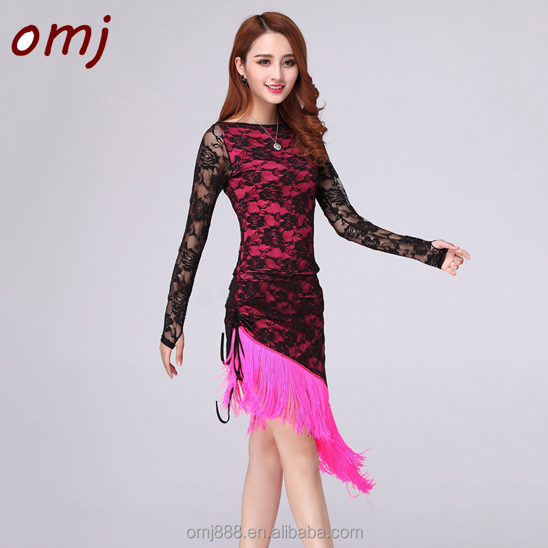 2017 BallroomStage CostumesTassel Tango Latin dance Dress