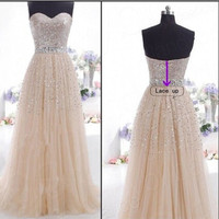 New Plus Size Women Sexy Lace Dress 2016 Prom Gown Long White Evening Dress Wholesale