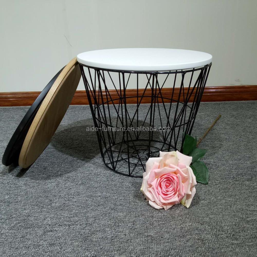 latest design basket sofa side table with metal mesh frame