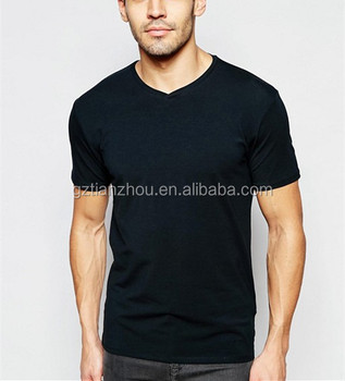 Fashion High Quality Apparel Factory Wholesale Men Clothes Black Blank V-Neck T-Shirt For Men