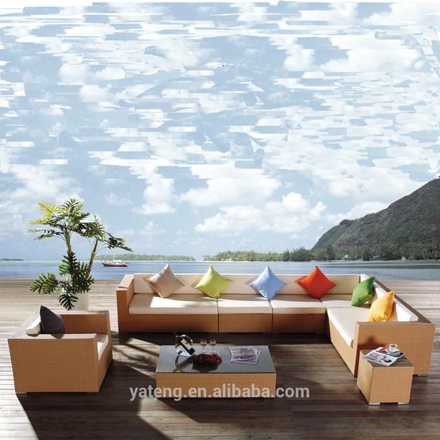 8pcs L Shape Corner Sectional Outdoor Rattan Wicker Sofa Cheap Furniture
