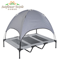 Large Outdoor Elevated Dog Bed Elevated Pet Cot with Canopy Portable for Camping or Beach