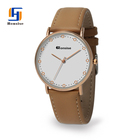 2017 TOP Luxury Fashion Western Style Watch Woman Leather Rose gold Silver Watches Quartz Clock