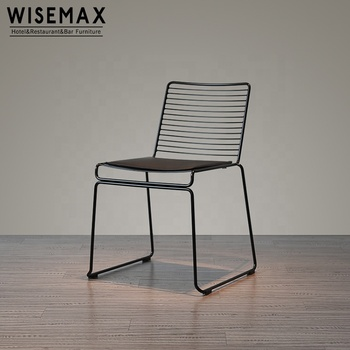Wholesale industrial style cafe chair harry bertoia outdoor garden black metal wire frame chair out door furniture