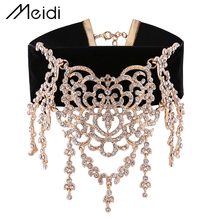 N6025 Luxury Gold Color Punk Long Big Rhinestone Wide Black Velvet Choker Necklace for Women Fashion Jewelry