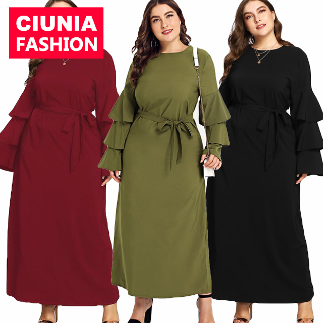 9073# plus size M-7XL one piece daily casual wear islamic clothing long sleeve prayer simple modest abaya muslim dresses