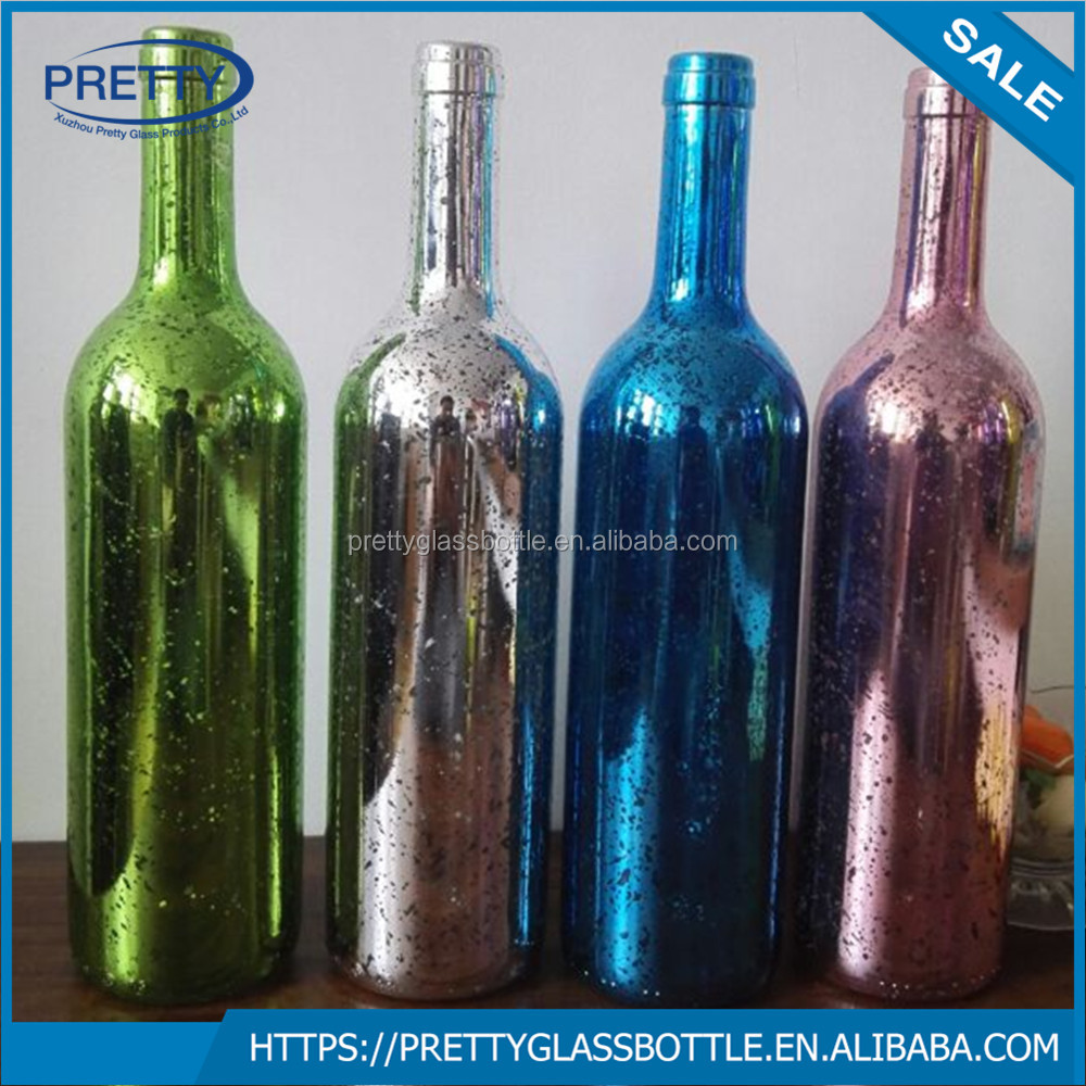 electroplated 750ml glass bottle for wine