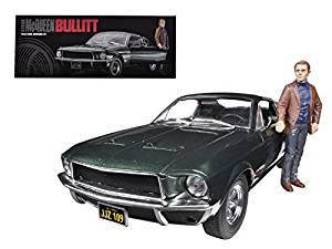 "1968 Ford Mustang GT Fastback ""Bullitt"" Highland Green with Steve Mcqueen Figure 1/18 Car Model by Greenlight"