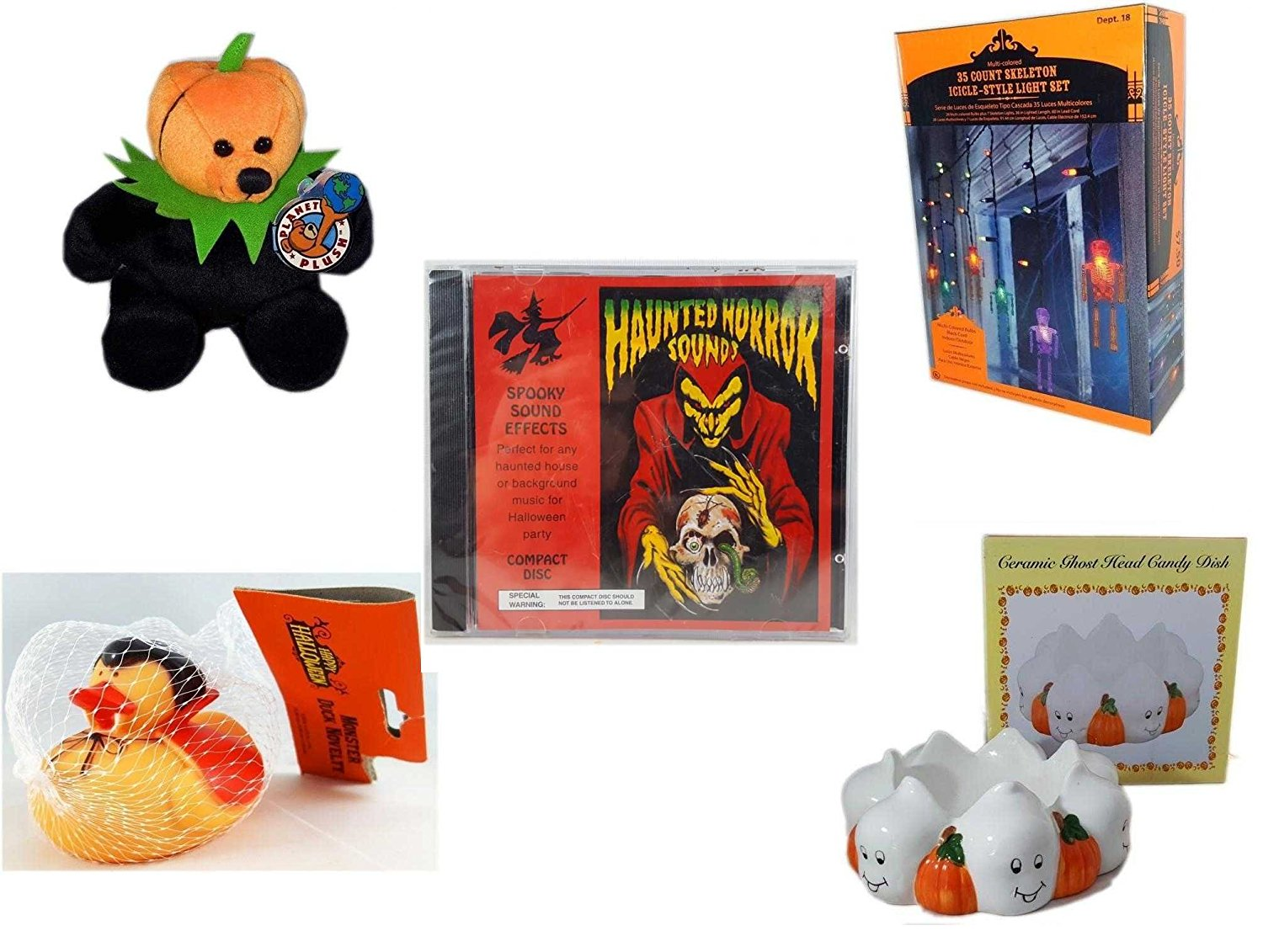 """Halloween Fun Gift Bundle [5 piece] - Jacko The Halloween Beanie Bear Limited Edition Collectible 7"""" - 35 Count Skeleton Icicle-Style Light Set - Haunted Horror Sounds CD - Happy Halloween Monster D"""
