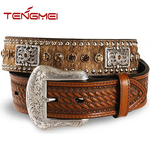 Men western style cowboy brown leather hair belt factory