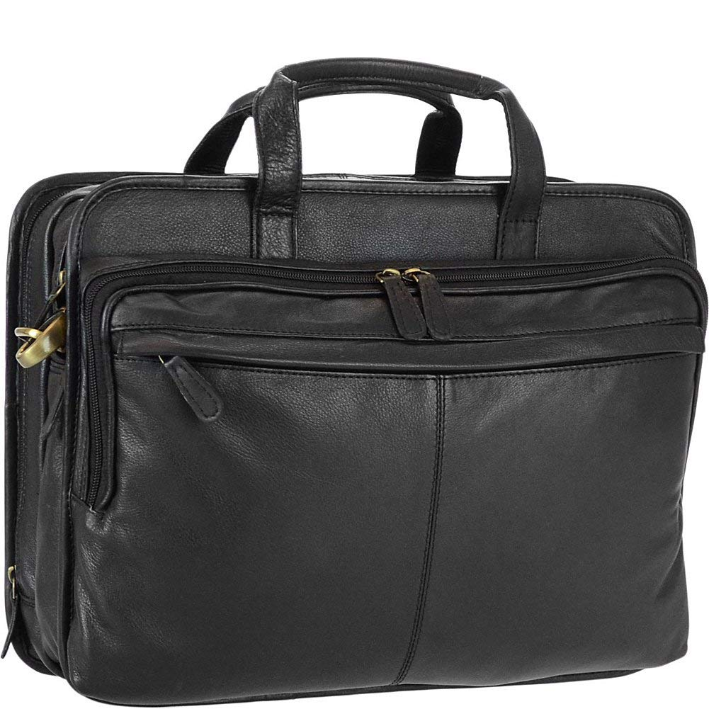 1efb30060 Get Quotations · R & R Collections Genuine Leather Double Gusset Briefcase  With Front Zip Pocket