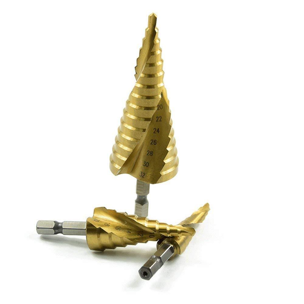 Spiral Grooved Step Drill Hex Shank Step Cone Spiral Drill Bit Titanium Coated Hole Cutter 3pcs
