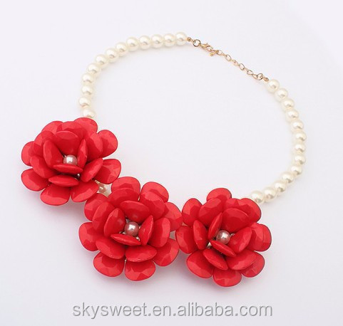 pearl bead necklace, three resin flowers necklace wholesale for children(SWTJU242)