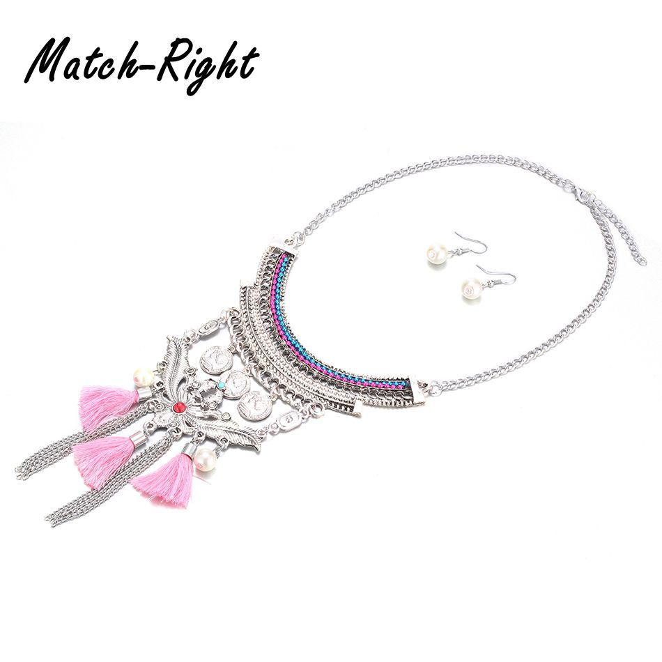 73b1279ba3d5 2018 joyería de moda de las mujeres conjunto de estilo nacional declaración  collar Tessel colgantes accesorios