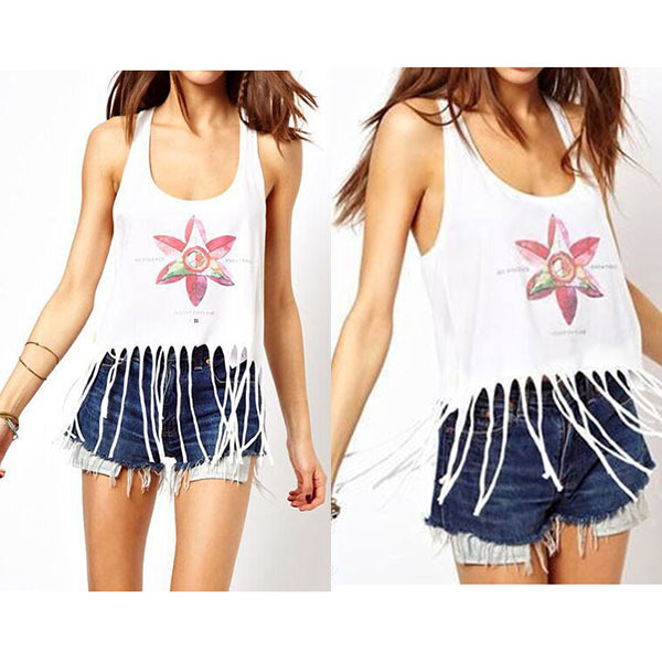 2015 Sexy Womens Ladies Backless Tassel Vest Scoop Neck Floral Tee Shirts Blouse Tops