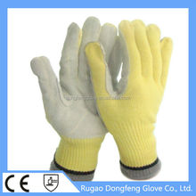 CE seamless kintted palm cow split leather and aramid Flame Resistant Glove Heat Resistant Glove