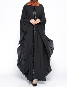 WS2069 black chiffon 2017 dubai fashion kaftan muslim women black butterfly abaya