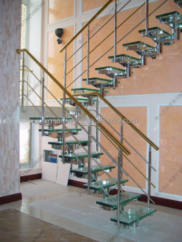 Nice Single Stringer Ready Made Glass Stairs