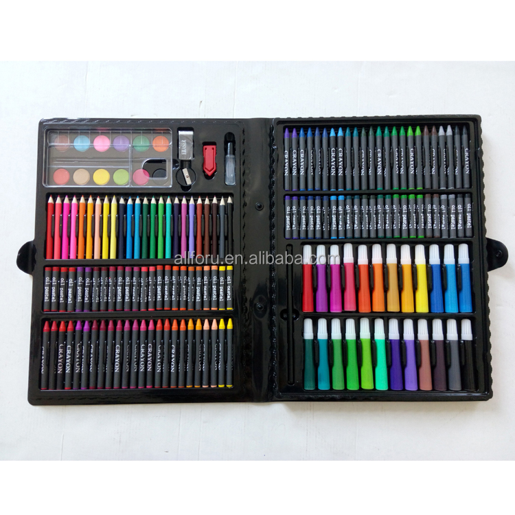 Painting Supplies Have An Inquiring Mind 168pcs Drawing Pen Art Set Kit Painting Sketching Color Pencils Crayon Oil Pastel Water Color Glue With Case For Children Kids