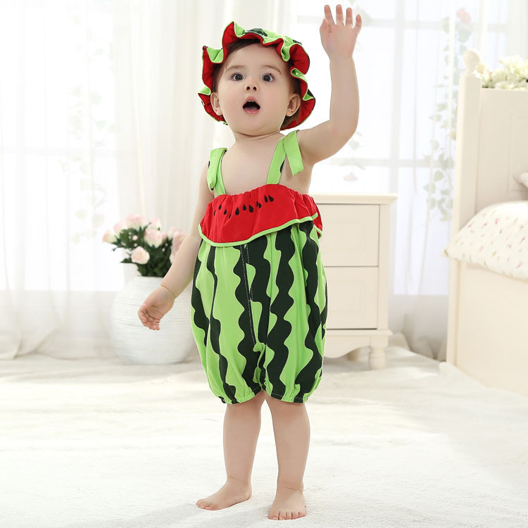 2015 One Piece Baby Rompers Girl Clothing Set Fruit Romper Hat Infant Boys Clothes Babies Jumpsuit For Newborn