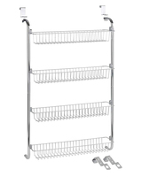 Most Popular Kitchen Accessories 4-tier Stainless Steel Wall Mount Storage Rack Wire Mesh Kitchen Spice Rack
