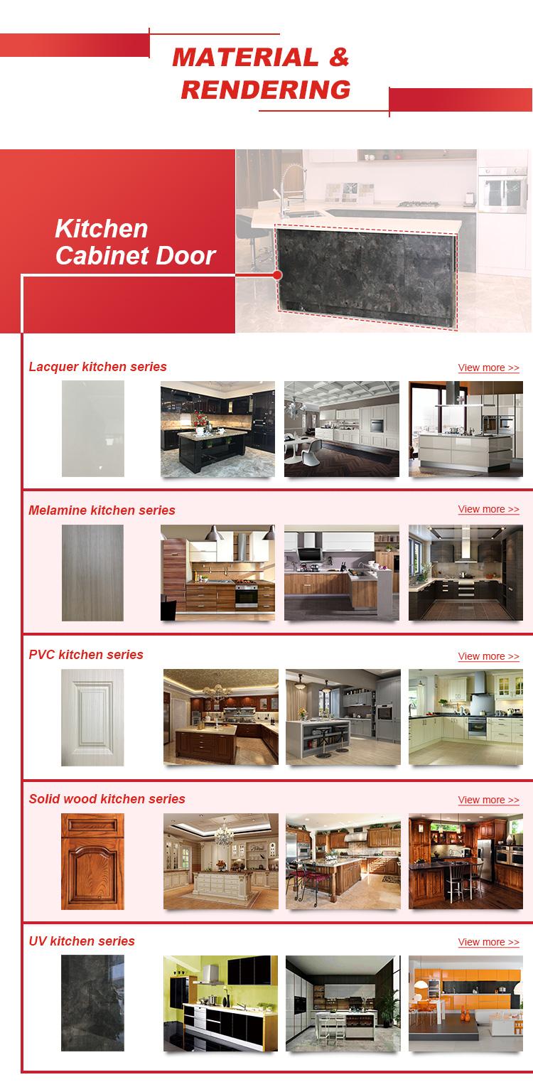 MDF และ PVC อเมริกันมาตรฐานเงิน Shangju ที่กำหนดเองไม้สีเทา Lacquer ห้องครัวตู้ราคา