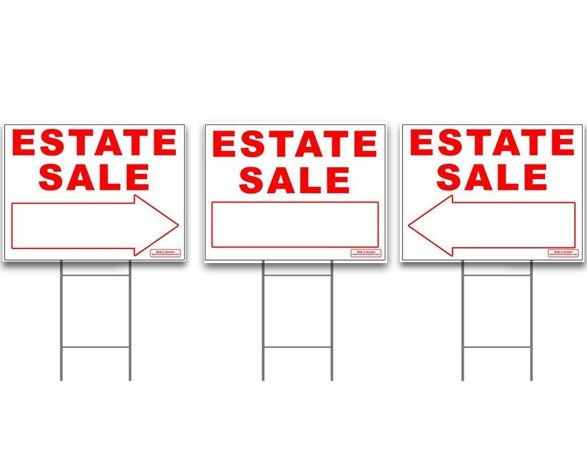 """Large ESTATE SALE Signs Kit with Tall Stands - Yard Sign Bundle for Real Estate - 3 Pack - (1) 24"""" x 18"""" Yard Sign with (2) Directional LEFT or RIGHT Arrow + (3) 24"""" Tall Wire Stakes"""