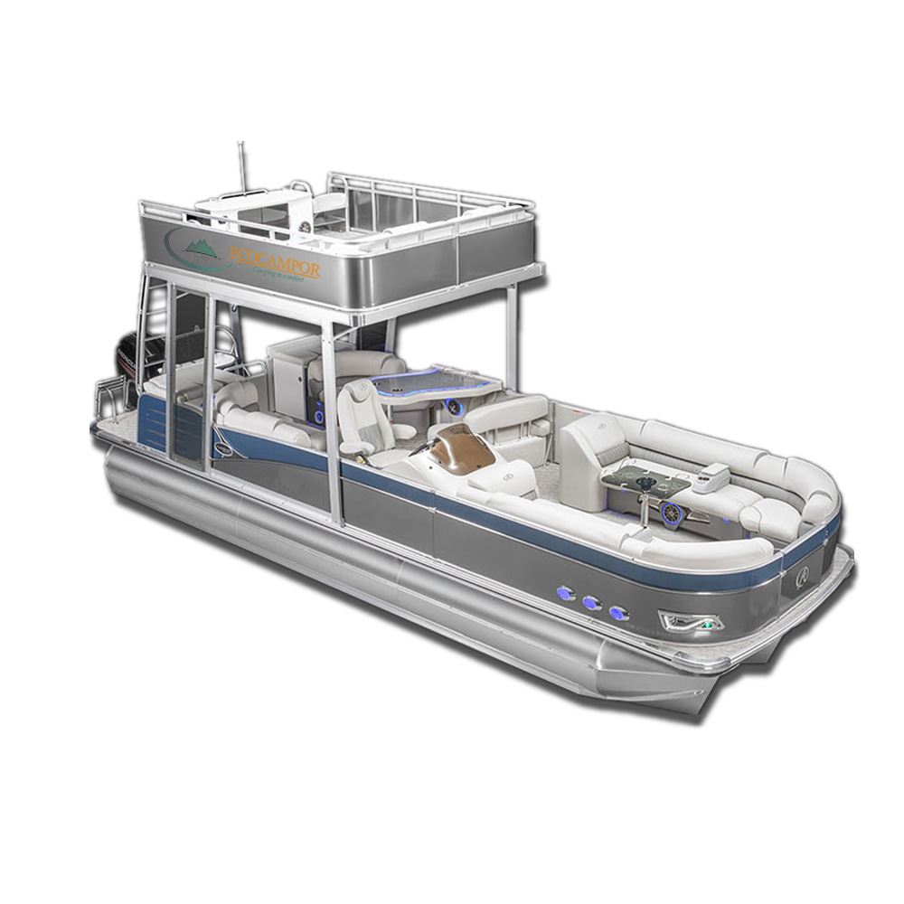 Ecocampor New Luxury Party Fishing Aluminum Tritoon Double-decker Pontoon  Boat With Slide - Buy Double-decker Pontoontritoon,Tritoon Pontoon  Boat,Boat