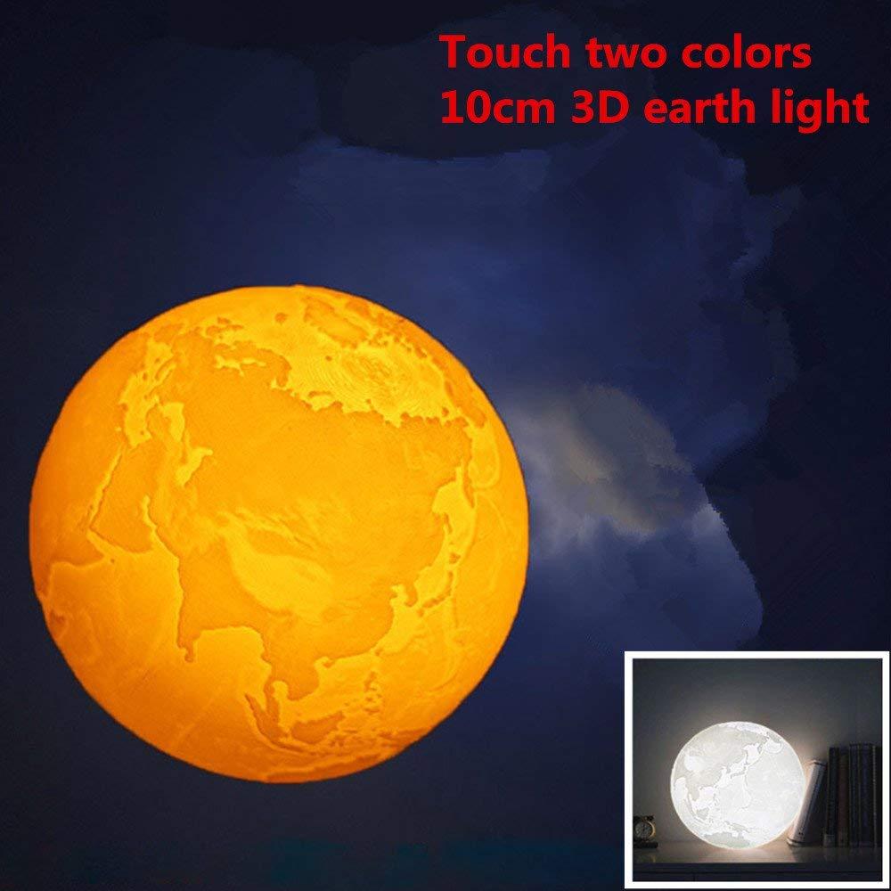 Zehui Table Desk Lamp Night Light 3D USB LED Earth Night Light Moonlight Table Desk Lamp Home Decor 10CM Touch Two-color