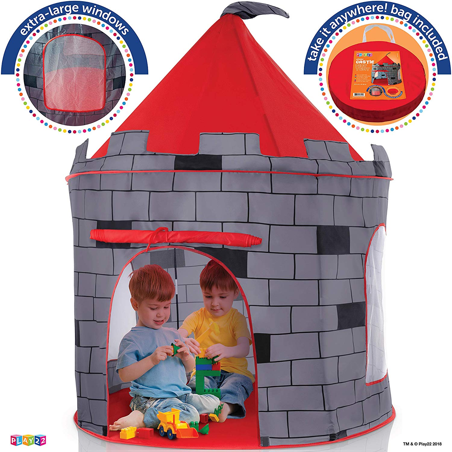 Kids Play Tent Knight Castle - Portable Kids Tent - Kids Pop Up Tent Foldable Into Carrying Bag - Childrens Play Tent Indoor Outdoor Use - Kids Playhouse Best Gift Boys Girls, Original