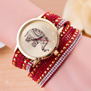 2909 Elephant Dial genuine leather watch bracelet watch fashion quartz slap bracelet watch