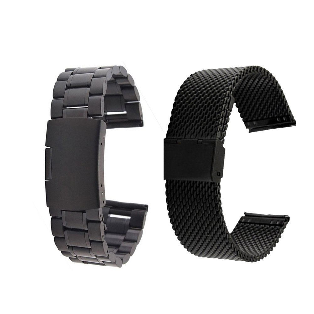 ECSEM® 20mm Universal Stainless Steel Watch Band Strap Bracelet with Spring Pin and Tool for Samsung Galaxy Gear S2 Classic SM-7320 / Motorola Moto 360 2 42mm Smart Watch (Black & Mesh Black)