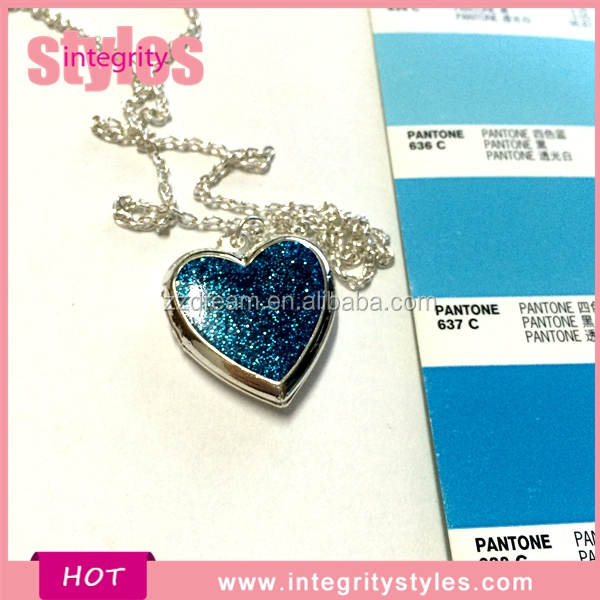 Glitter heart Locket Necklace