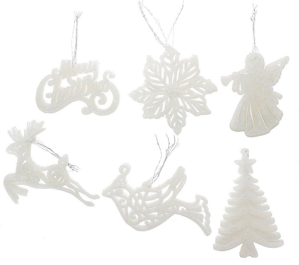 "Elegant Fancy Shatterproof Sparkling Shimmering Christmas Glitter Holiday Variety Shaped Ornaments (Bird, Poinsettia, Tree, Angel, Merry Christmas & Deer) , White, Medium, 6 Pack, 4""-5"""