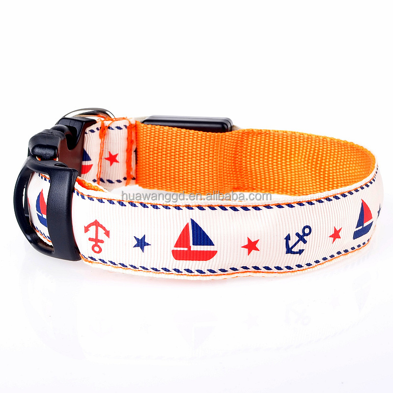 2015 hot selling nylon led collar for <strong>pet</strong> with anchor sailor,embroidered <strong>pet</strong> collars,flashing led