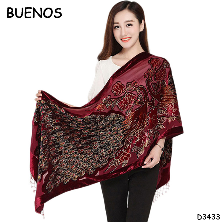 Handmade Beaded Shawl Fashionable Ladies Lace Printing 100% Silk Velvet Peacock Scarf