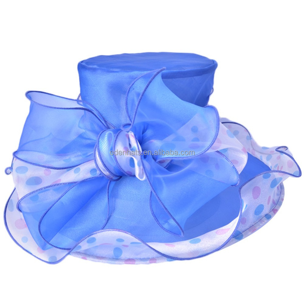 Women Summer Church Bridal Wedding Organza Hat Wide Brim Hat