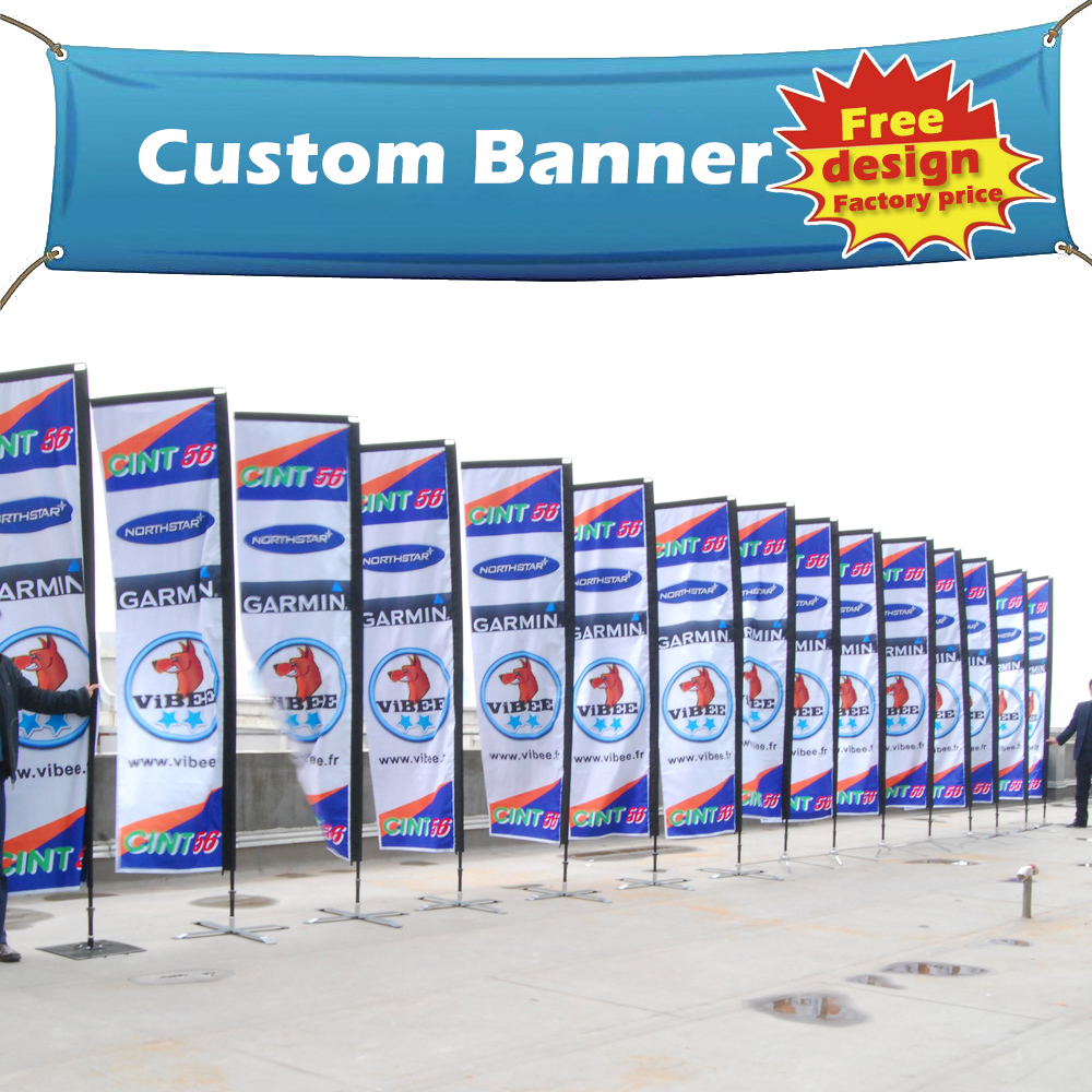 High quality custom fabric full color printed outdoor flying banners bangkok thailand with own logo