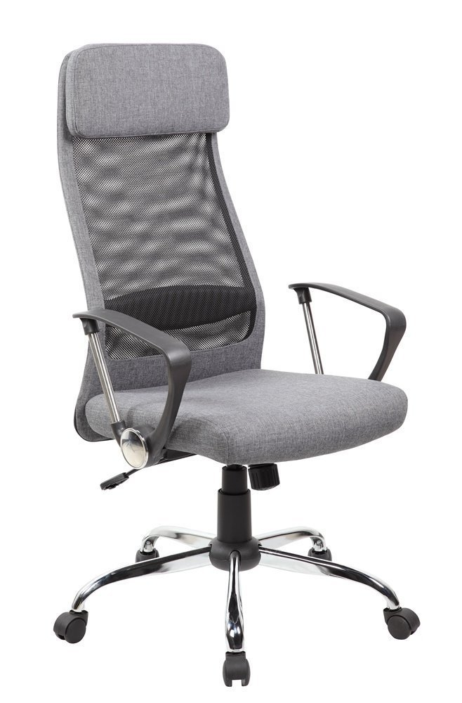 Anji Modern Furniture Anji High Back Ergonomic Mesh Office Chair with Padded Fabric Ajustable Seat, Tilt Tension, Headrest, Arms, Computer Desk Chair, Grey